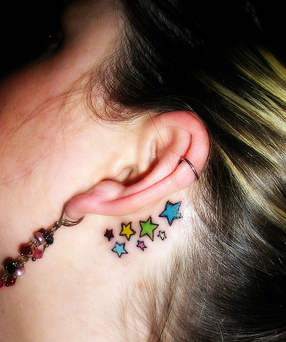 Small Star Tattoo Behind Ear