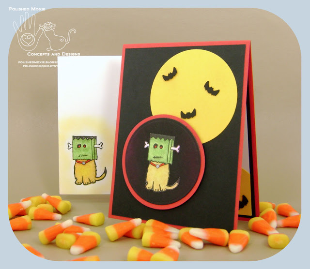 Image of my handmade Frankenstein Dog Halloween card and envelope set