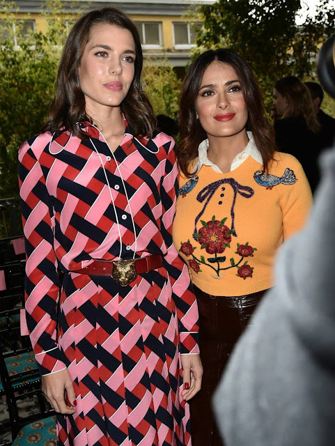 Charlotte Casiraghi and Salma Hayek attend the Gucci show during the Milan Fashion Week Spring/Summer 2016