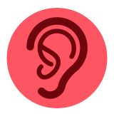 Hearing Related Accessibility: Symbol depicts an ear on a pink background.