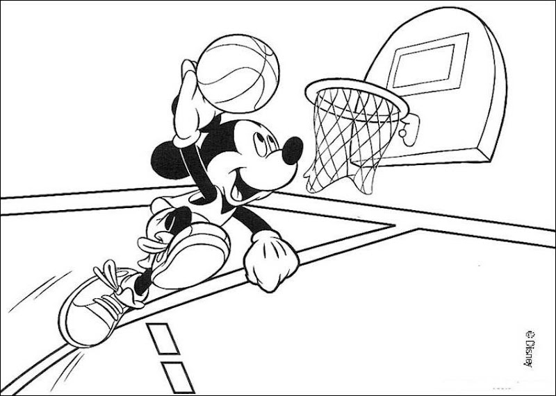 , Minnie Mouse and Pluto Playing Basketball Coloring Pages Picture title=