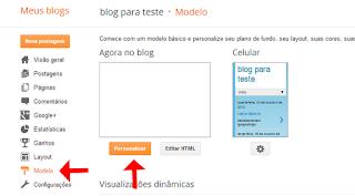 painel do blog para editar gadget