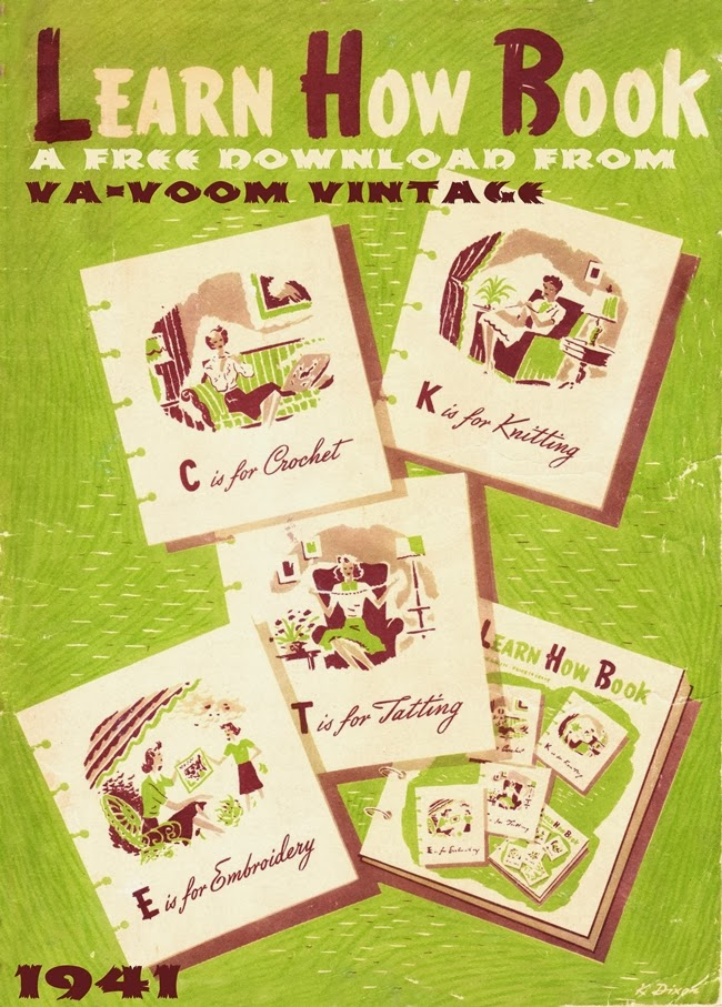 1940s free book download Learn How Book from Va-Voom Vintage with crochet, knitting, tatting and embroidery patterns