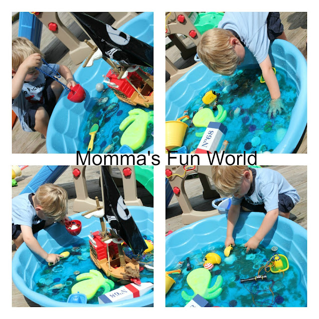 Pirate treasure water sensory play....day 5 by Momma's Fun World