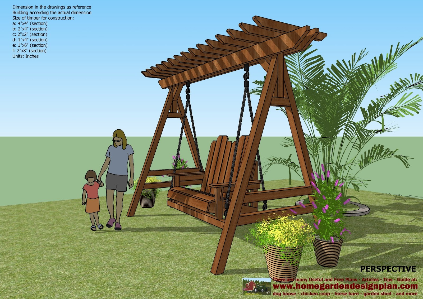 Home garden plans sw101 arbor swing plans construction for Outdoor swing plans
