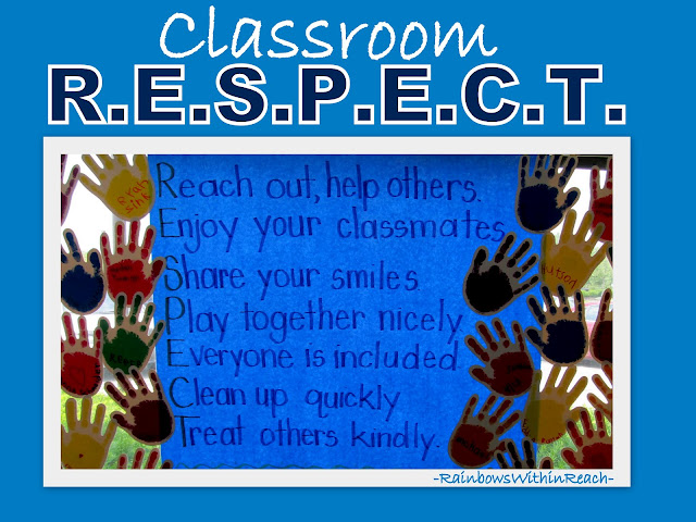 photo of: Bulletin Board Acrostic for Classroom Rules, Handprint pledges