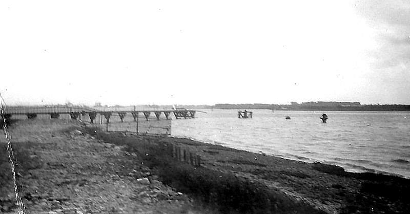 The remains of the pier after the explosion