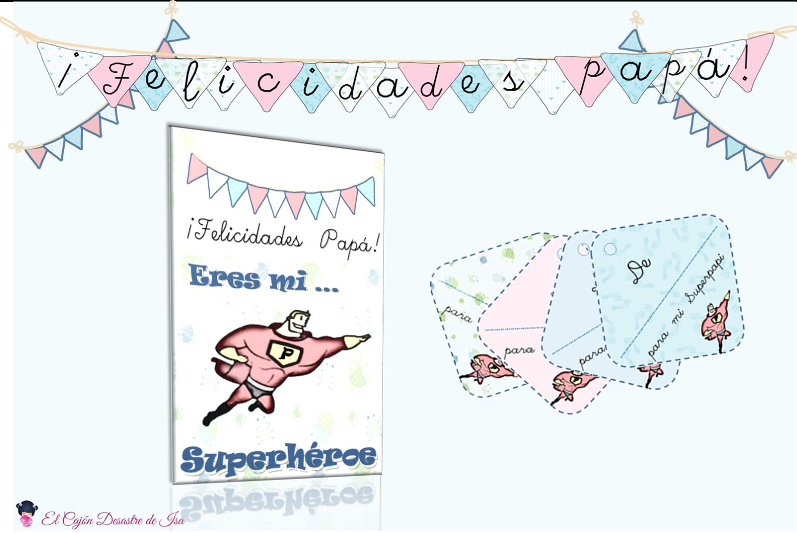 kit descargable gratis tarjeta de regalo día del padre NIÑO