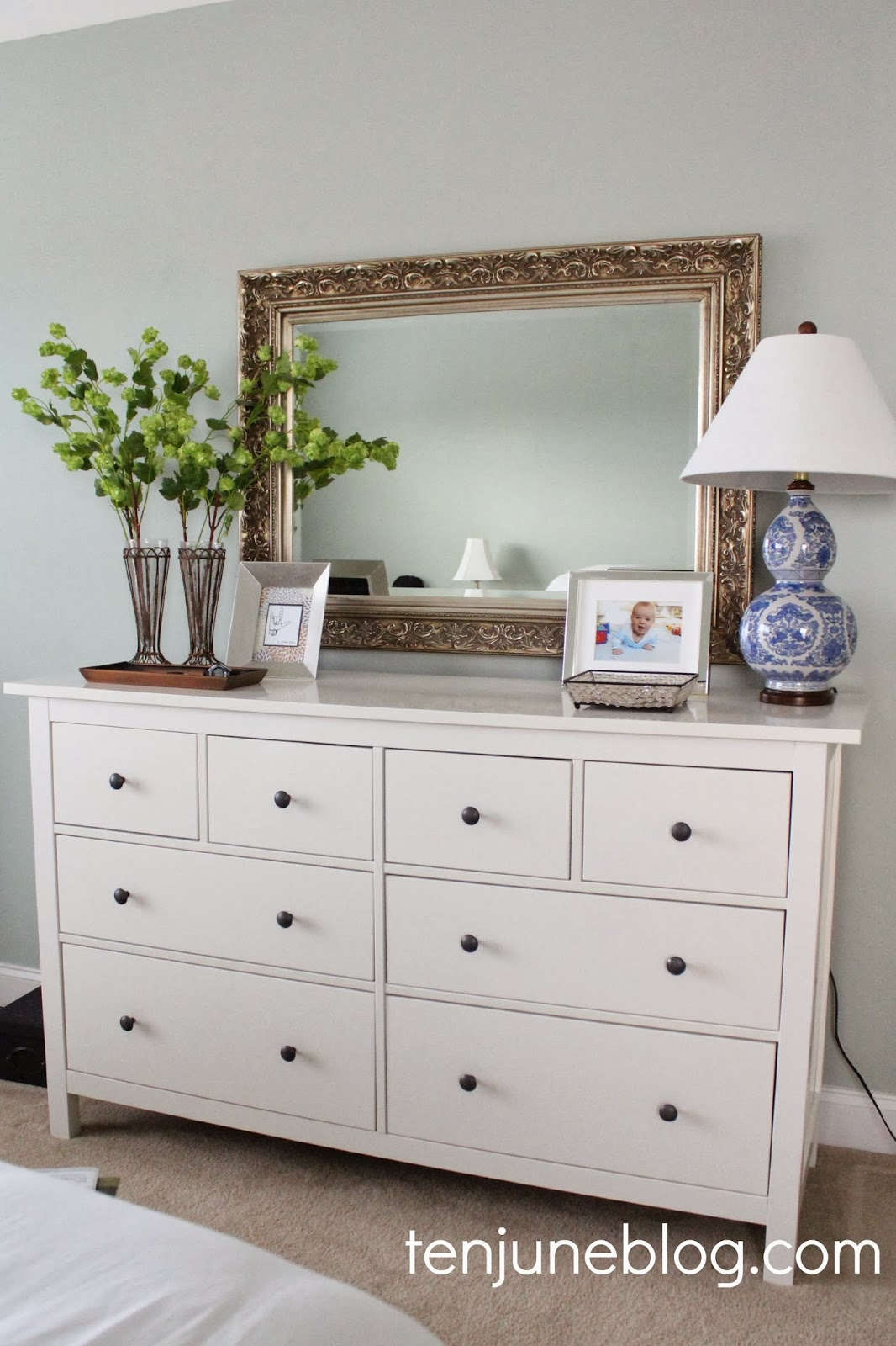 Ten june master bedroom dresser vignette for Dresser ideas for small bedroom