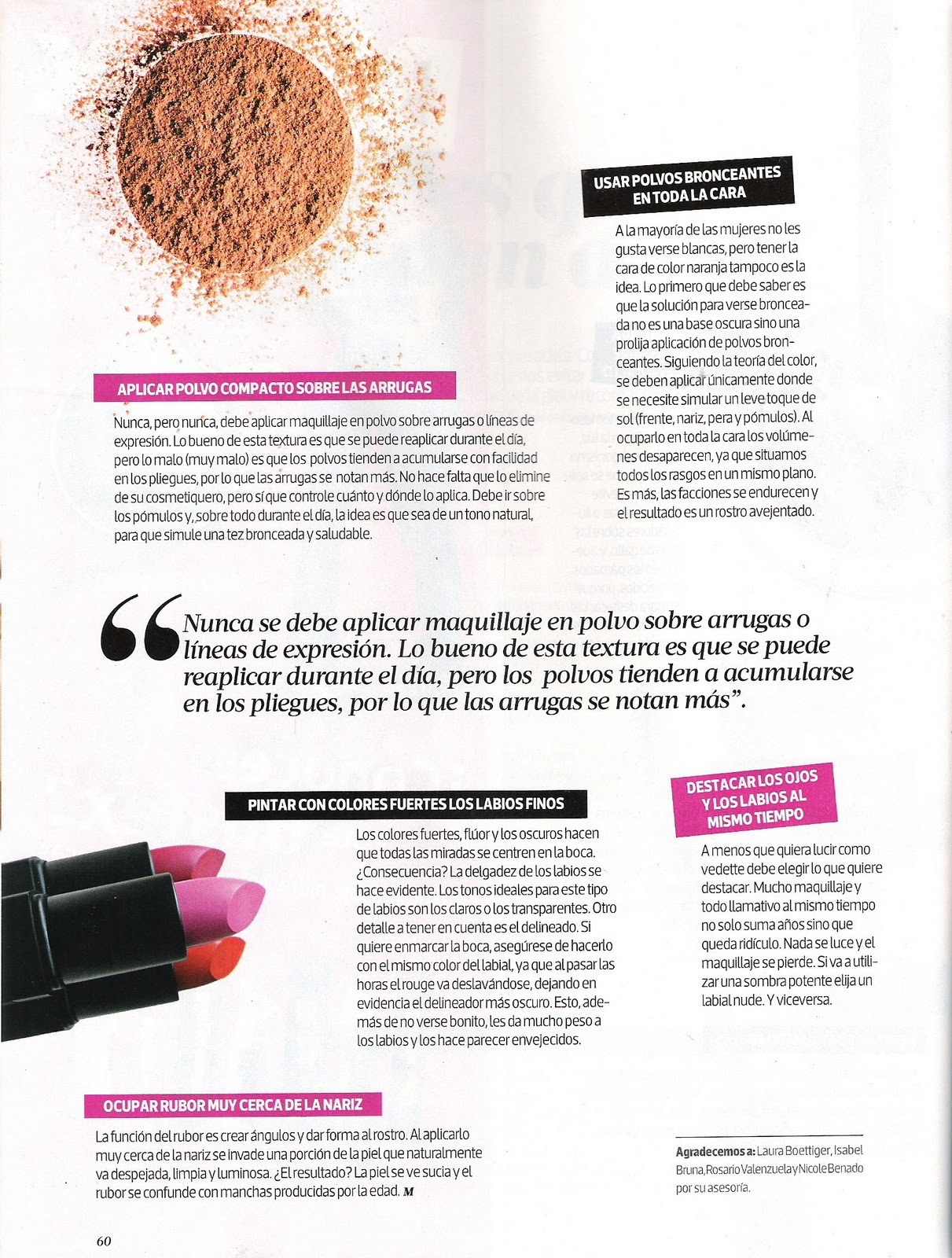 Press: Revista Mujer 15 de enero – Make Up Insiders