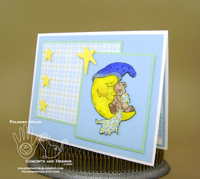 Picture of the front of my handmade sleeping teddy bear baby card set at a left angle