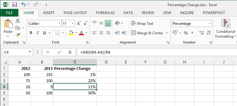 how to find change in percentage in excel
