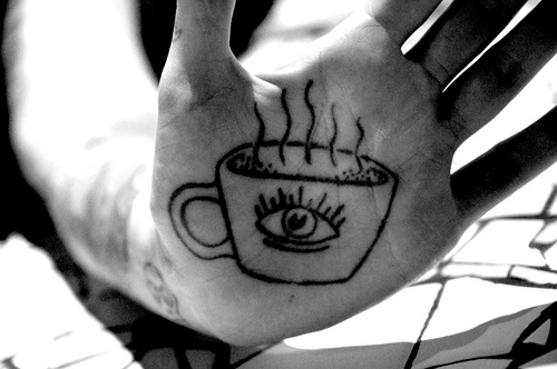 coffee cup third eye tattoo on palm of hand jessandthecity . t tattoodonkey.com #tattoofriday   Coffeelovers