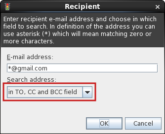In which fields search: TO, CC and BCC