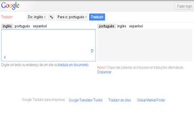 caixas de texto do google traditor