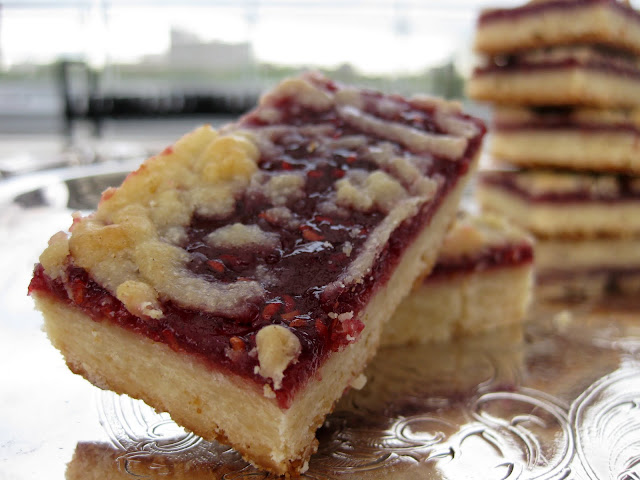 raspberry bars on a silver platter