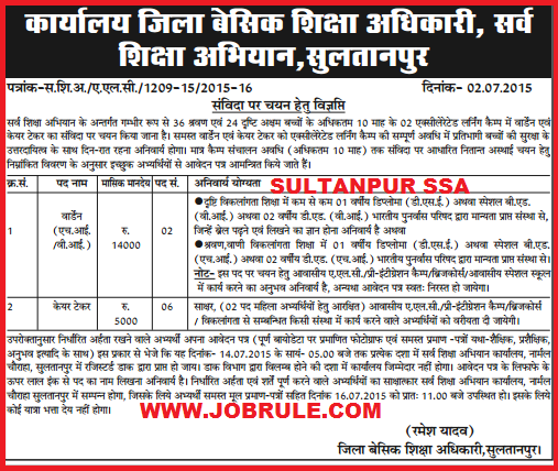 Sultanpur District SSA latest Warden & Caretaker Job Advertisement July 2015