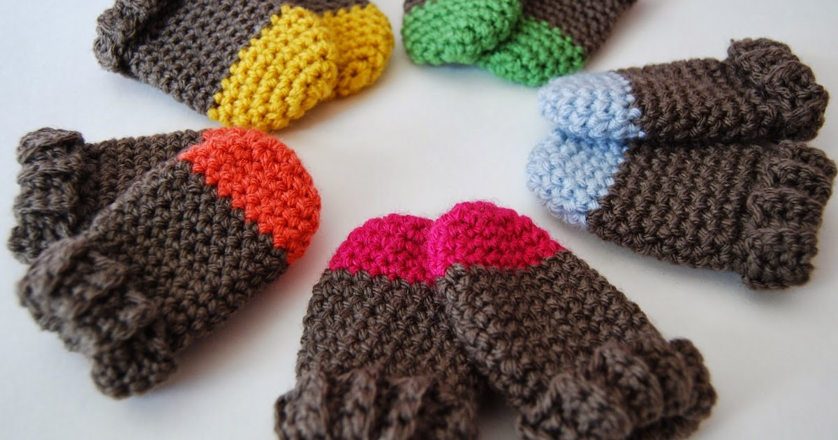 Tangled Happy Two Tone Baby Mittens Crochet Pattern Baby 0 3 Months