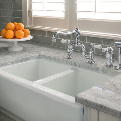 super white granite and farmhouse sink. kitchen countertop ideas