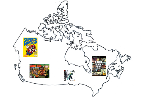 Canada Video Game Map