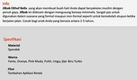 Jual Jilbab Anak Elthof Bella Pekanbaru