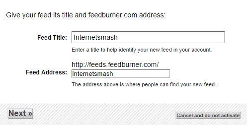 Entering an RSS Feed Title and Feed Address