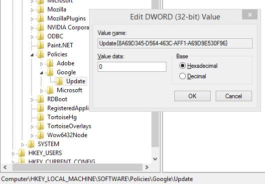 Отключение автоматического обновления Google Chrome в реестре