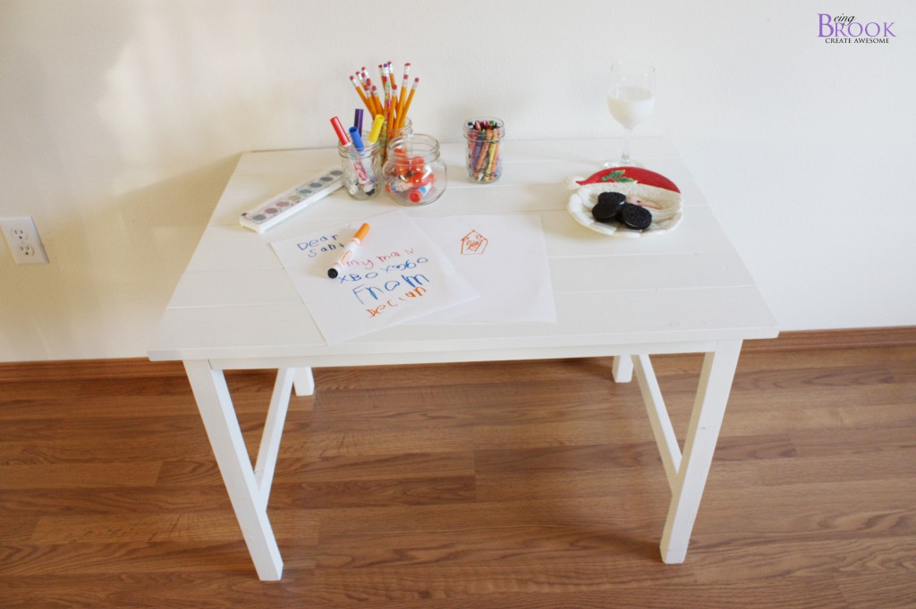 i painted the table with 2 coats of dover white from sherwin williams