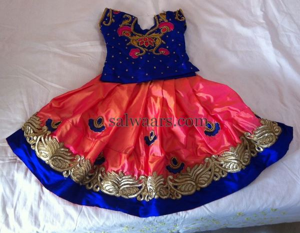 Peach and Blue Heavy Lehenga