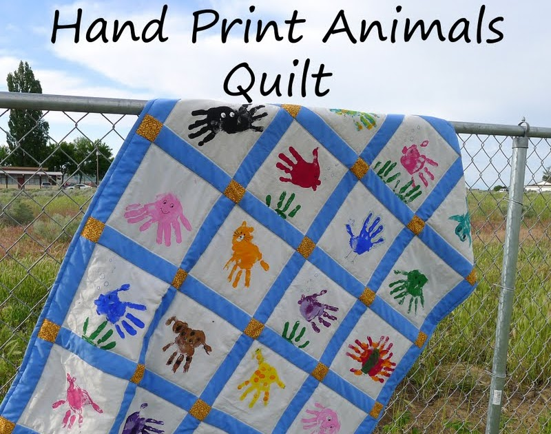 Pieces by polly hand print animals quilt