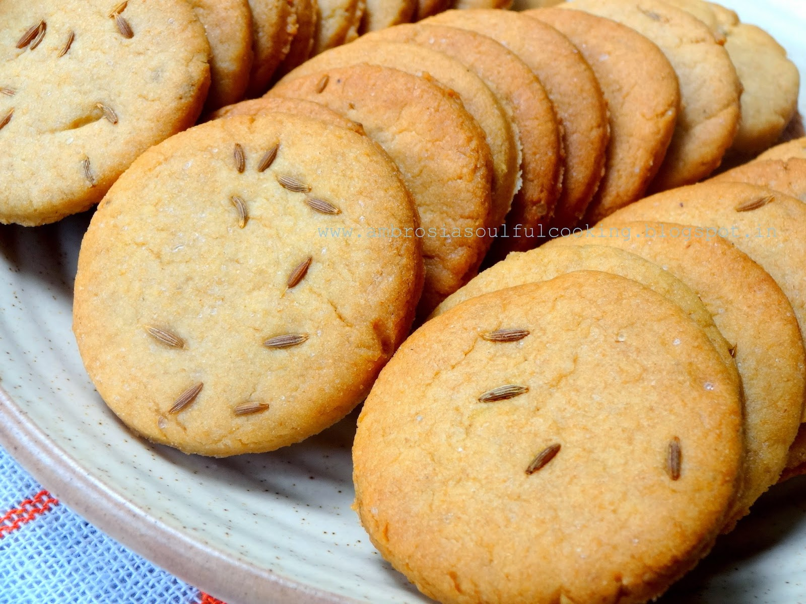 AMBROSIA: Whole Wheat Cumin Cookies - Jeera Biscuits | Egg less baking