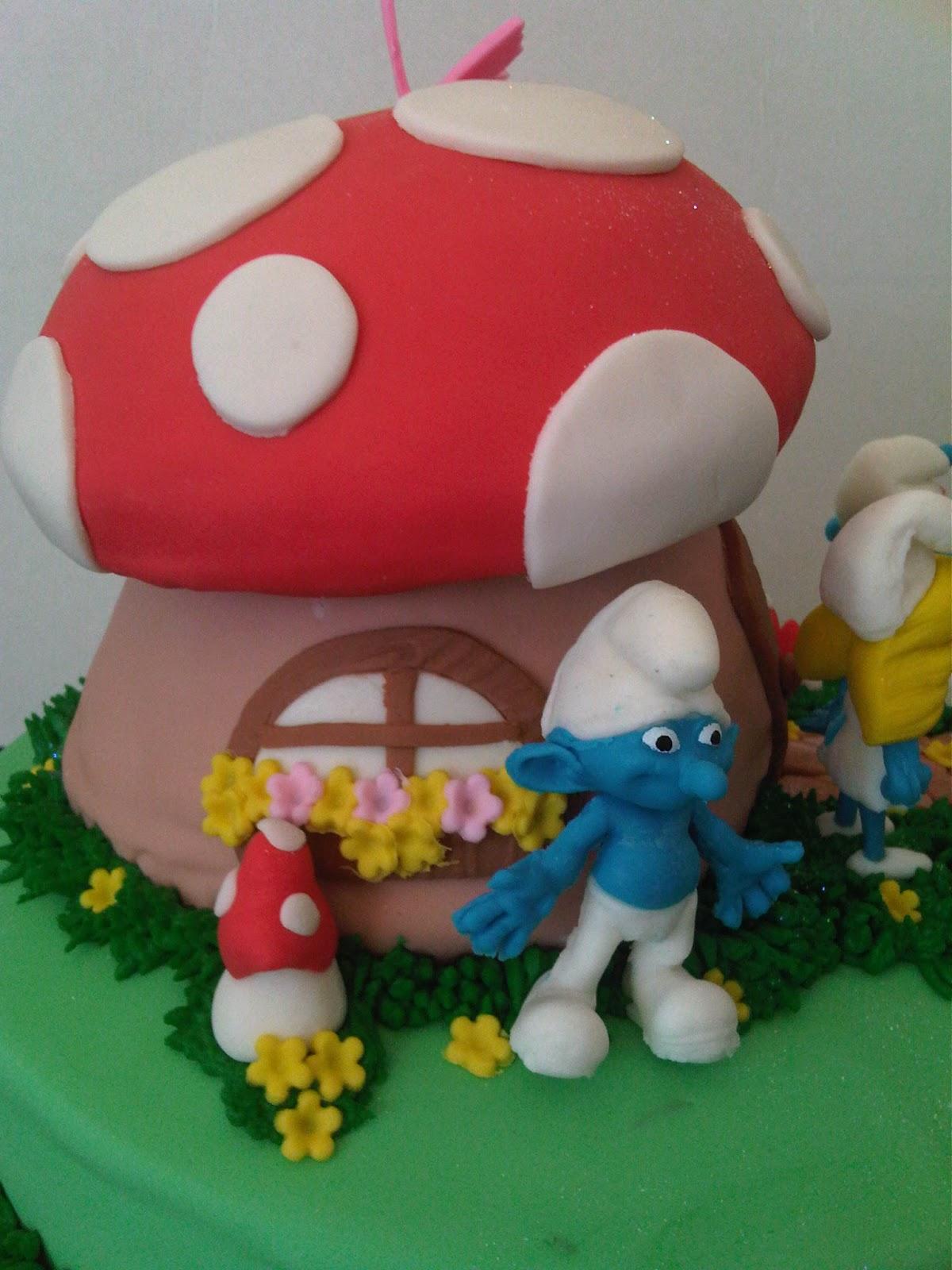 Smurf Mushroom House Cake Ideas And Designs