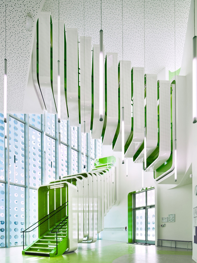 Futuristic green and white stairs