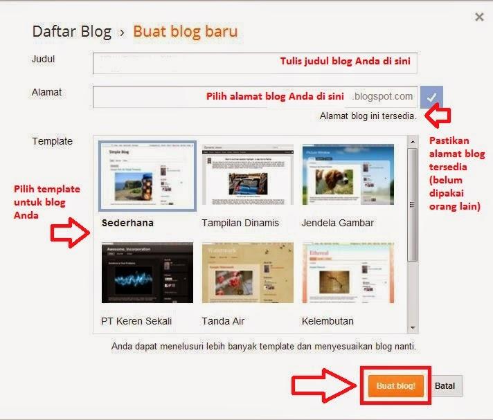 Form membuat dan mendaftar blog blogspot baru