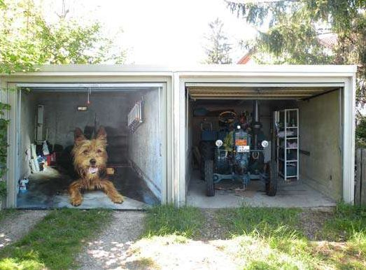 One hot lap how to style your garage with a picture tarp for Drive through garage door