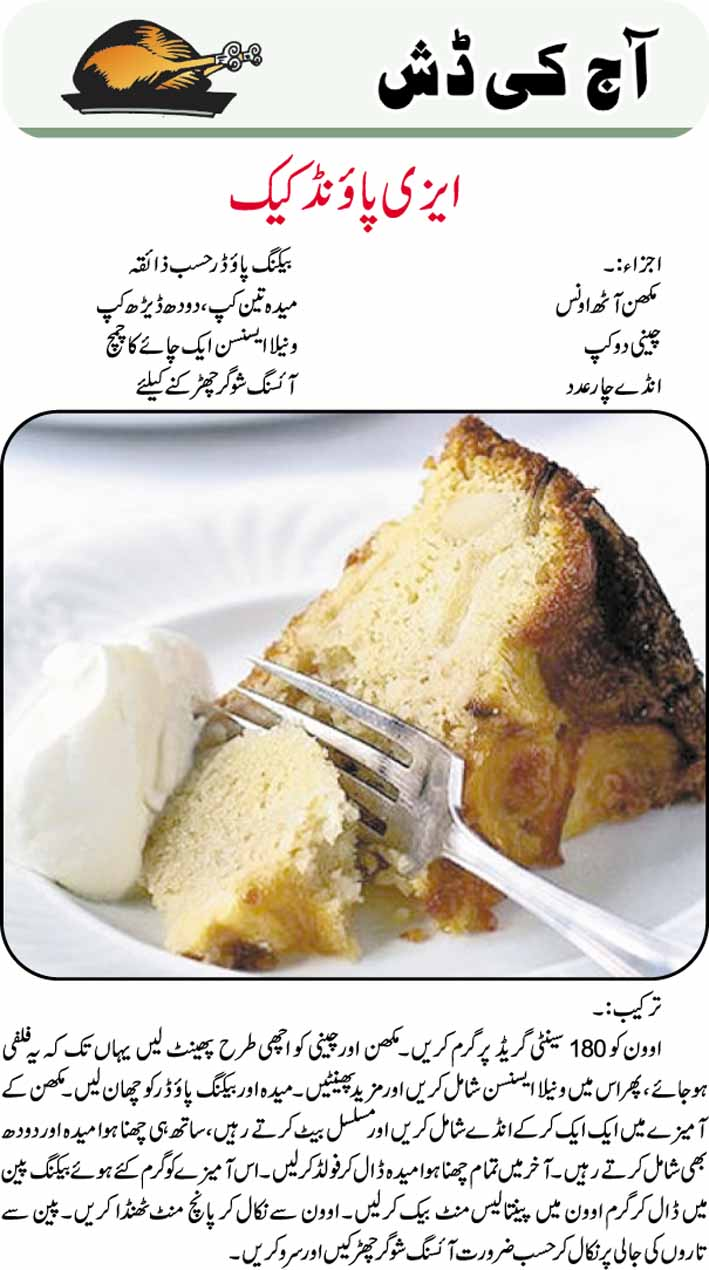 Pound Cake Recipe In Urdu