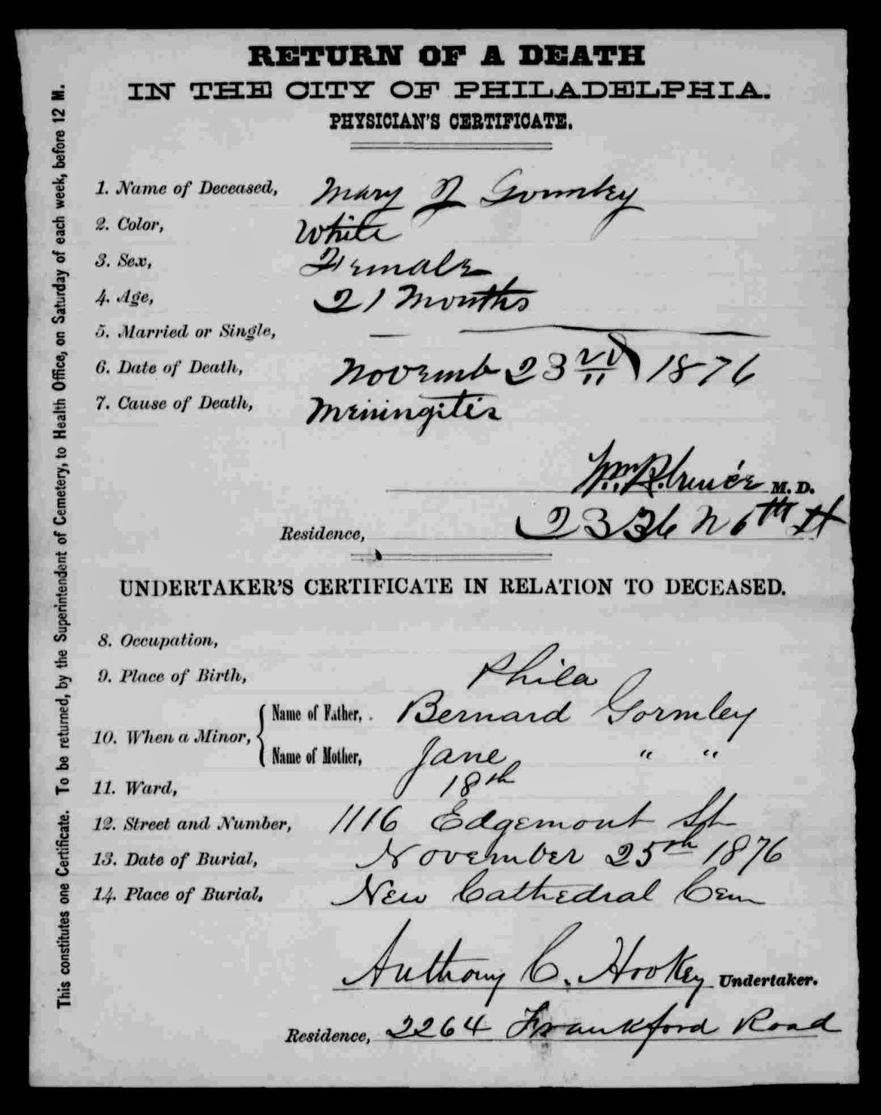 Research hint philadelphia death and birth records phila 1906 3 dau margaret b abt 1877 phila d mar 11 1880 phila age 3 yrs cause of death croup 1betcityfo Gallery