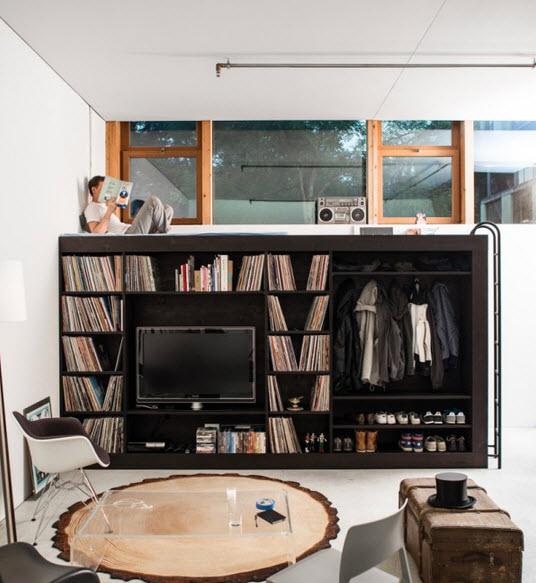 No es mueble modular y tiene cama closet librero y m s for Muebles departamentos pequenos