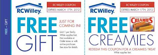 Free Gift and Creamies Treat at RC Willey stores