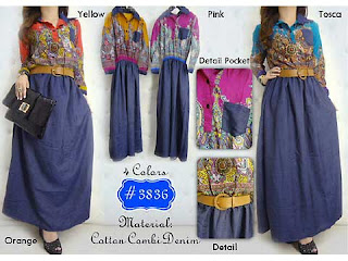Sambut Lebaran dengan Etnic with Denim Dress HS3836