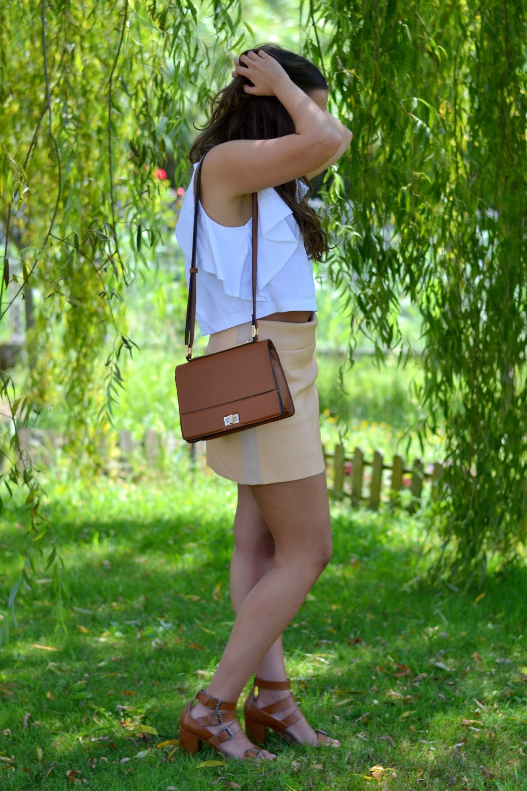 leatherette zara skirt, camel sandals bag, white top backless zara