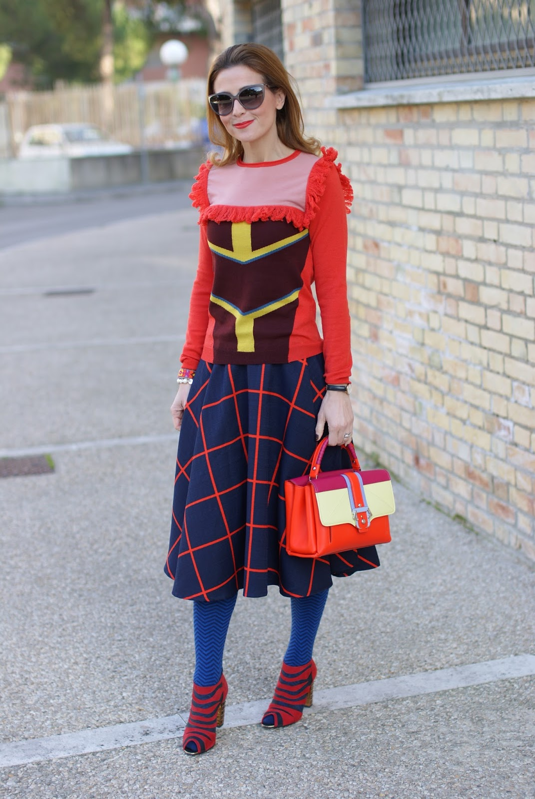 Color block edgy outfit with Choies plaid midi skirt and Roberto Botticelli luxury shoes on Fashion and Cookies fashion blog, fashion blogger style