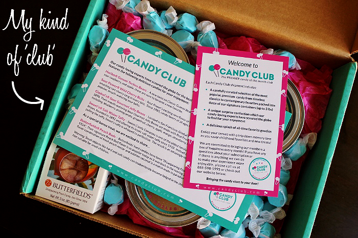 The Candy Club monthly subscription service- November 2014 Butterfield's Peach Buds, Cotton Candy Saltwater Taffy, Sour Power Wild Cherr Belts, and Gimbal's Sour Gourmet Jelly Beans. http://www.candyclub.com/
