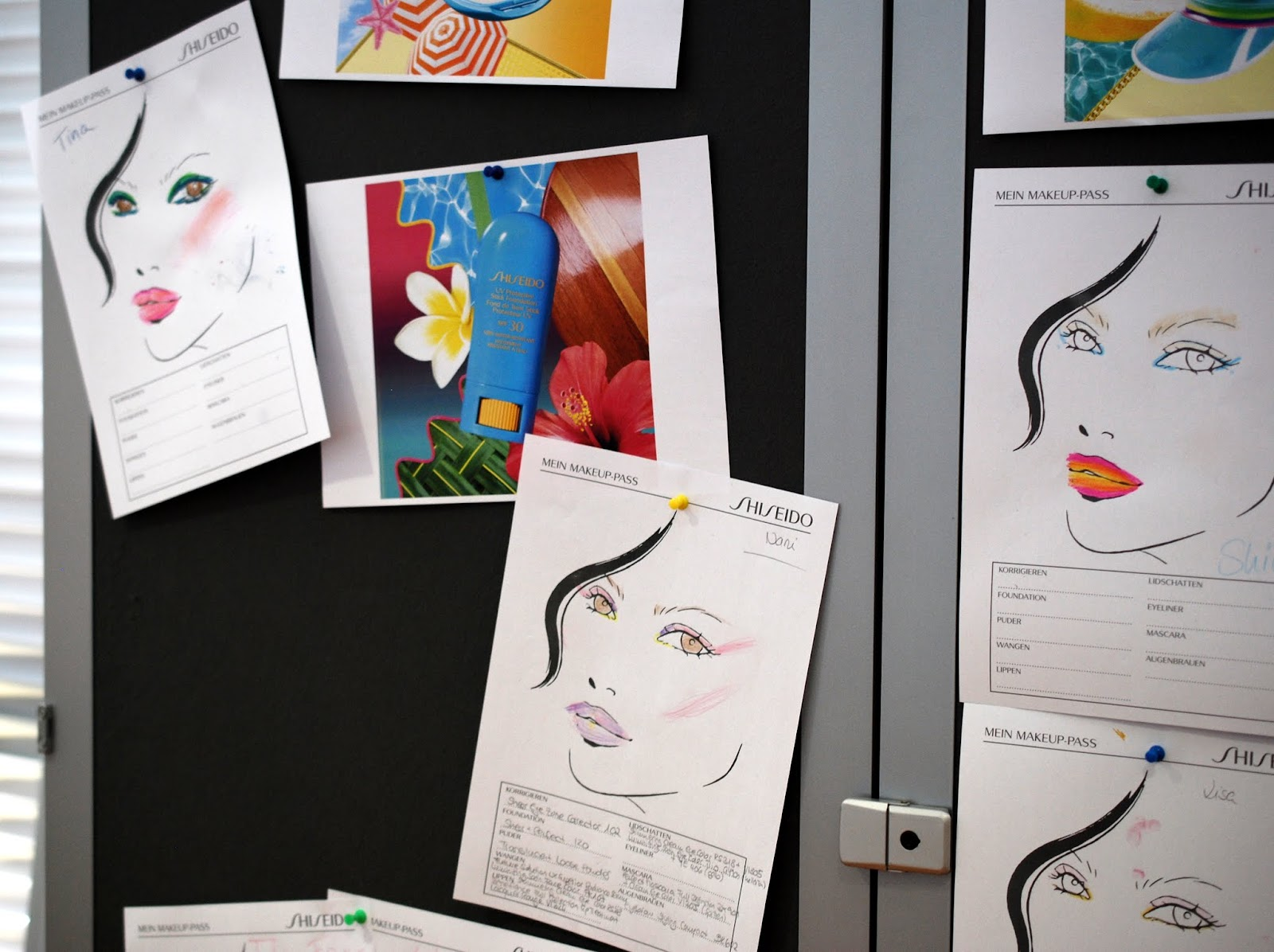 Alle unsere Face Charts am Lookboard