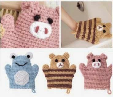 Manoplas de baño divertidas para niños al crochet