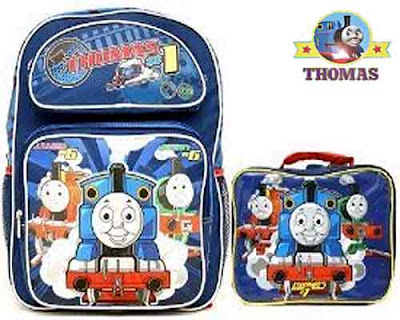 Toddler Thomas & Friends train large travel Backpack bag and Lunch Lunchbox bottle 3 pieces set