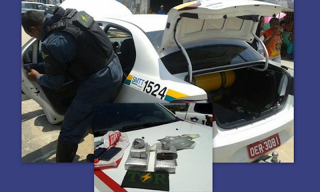 Polícia apreende droga em porta-malas de taxi