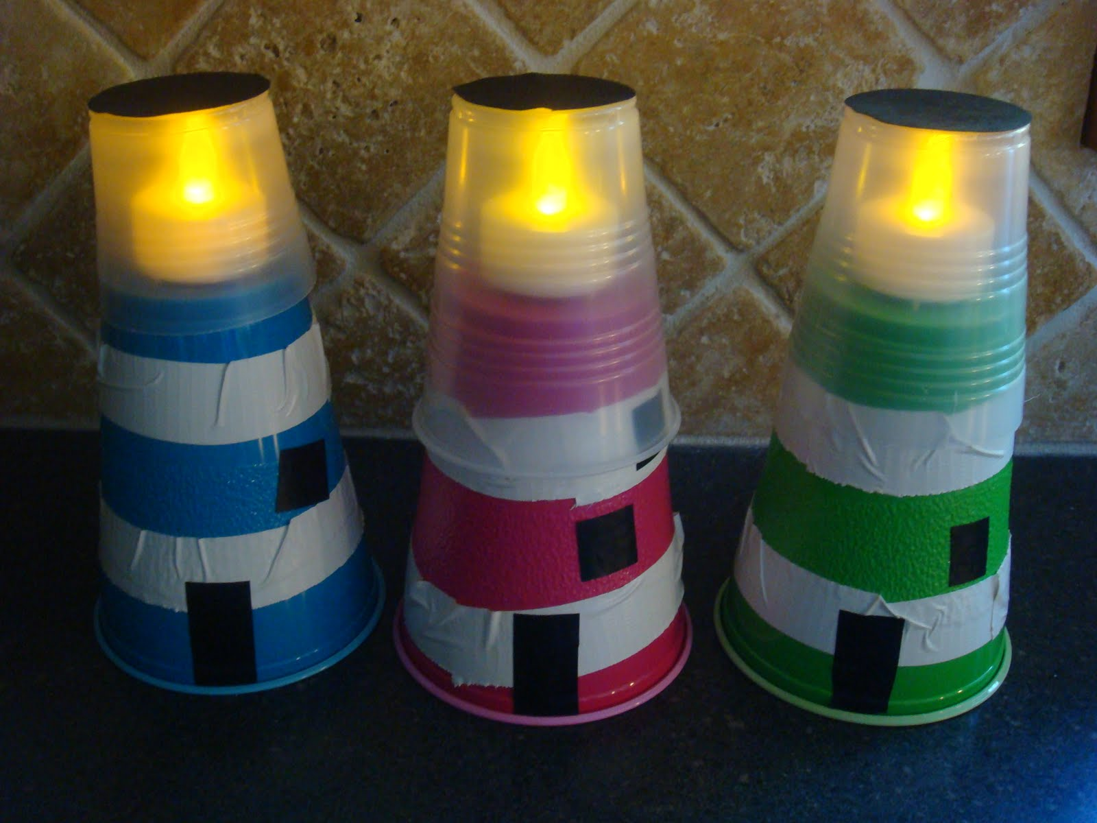 Family embellishments lighthouse craft - Crafts made from plastic cups ...