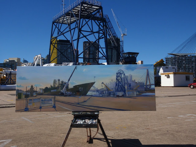 Ex-HMAS Adelaide at Glebe Island wharf plein air oil painting by artist Jane Bennett