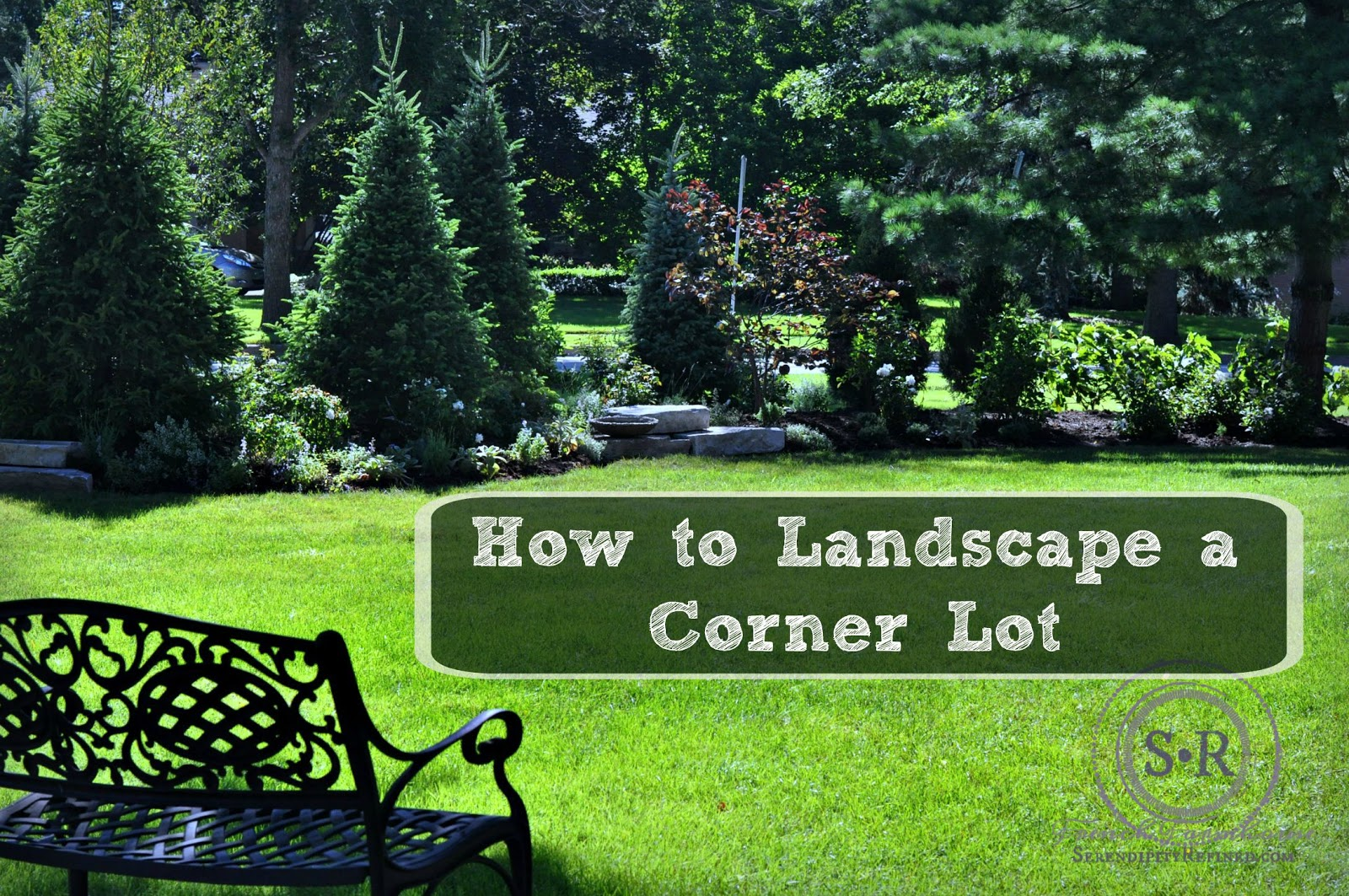 Serendipity refined blog how to landscape a corner lot for Large lot landscaping ideas